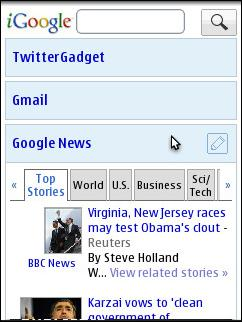 Opera Mobile 10 - iGoogle for iPhone 