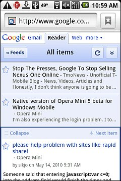 Google Reader on Android
