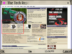 Symbian V7.2 Browser - TechReport.com Keyhole View