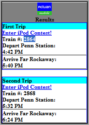 Mobile Train Schedule Results