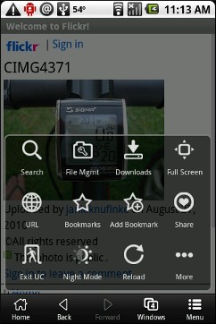 UC Browser for Android - Main Menu