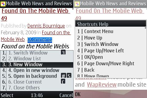UCWEB 6.3 - Shortcuts and Windows Menu