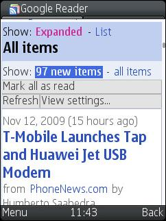 UCWEB 7.0 Beta 2 - Google Reader Desktop Version