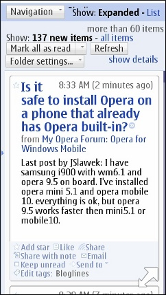 Google Reader for Wii in the N8 Browser
