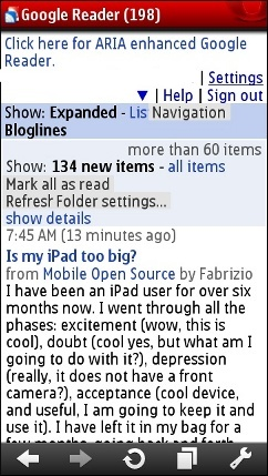 Google Reader for Wii in Opera Mini