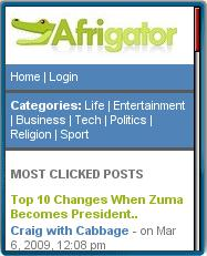 Afrigator mobile home page