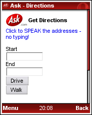 Ask Voice Enabled Driving Directions