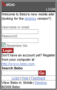 Bebo Log In Screen