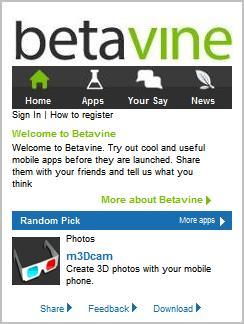 Betavine.mobi homepage
