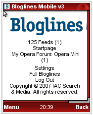 Bloglines Mobile Feed List