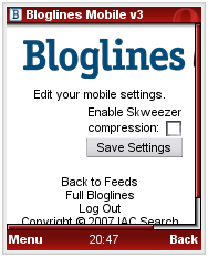 Bloglines Mobile - Skweezer configuration