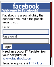 Facebook Login Screen
