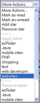 Labels in gMail PC menu