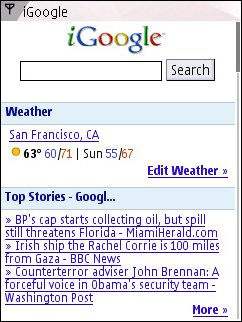 iGoogle on Nokia N95