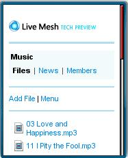 Live Mesh Mobile Web Interface