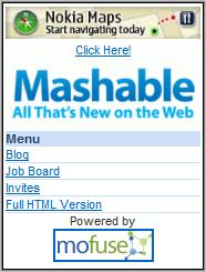 Mashable Mobile homepage