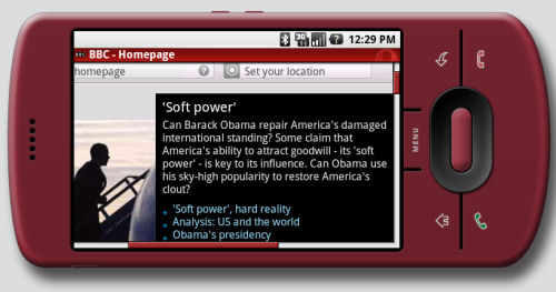 T-Mobile G1 running Opera Mini