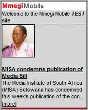 Mmegi Mobile Homepage