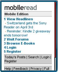MobileRead's mobile homepage