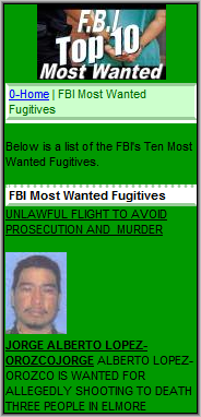 FBIMostWanted.mobi Screenshot