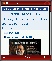 MSN Home Page in Opera Mini