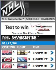 NHL Mobile Game Center