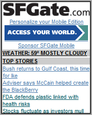 SF Gate Home Page
