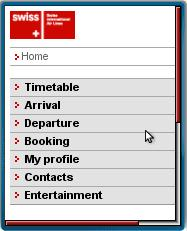 Swiss Airline's Mobile Site