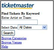 Mobile Ticketmaster Homepage