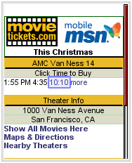 Co-branded MSN MovieTickets site.