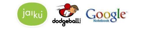 Jaiku, Dodgeball and Google Notebook logos
