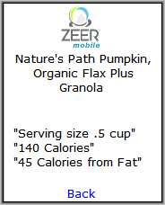 Zeer Nutritional Information