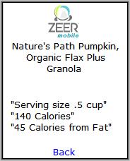 Zeer Nutritional Information