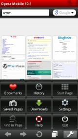 Opera Mobile 10.1 Menu