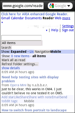 Google Reader for Wii in Opera Mini Mobile View