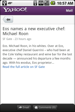 Yahoo Mobile Beta - News Excerpt