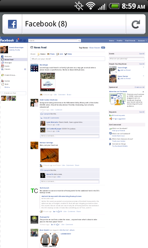 Firefox Mobile FaceBook Desktop Zoomed Out