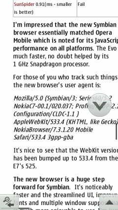 Opera Mobile 11 Jump To Page Bottom Arrow