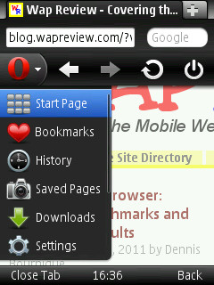 Opera Mobile 11 Menu on Nokia N95