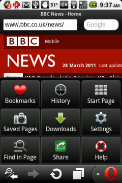 Opera Mobile 11 (Android) Navigatiob Bar and Menu