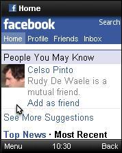 Opera Mini 6 - FaceBook