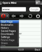 Opera Mini 6 Lite Menu