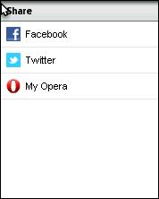 Opera Mini 6 - Share Menu