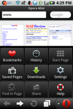 Opera Mini 6 (Android) Touch Speed Dials and Menu