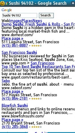 Google Sushi Results