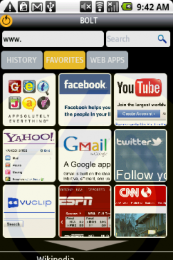 Bolt Android - Home Screen