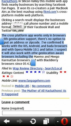 Opera Mobile 11.1 Text Selection