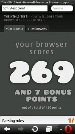 Opera Mobile 11.1 HTML5Test.com Result