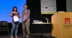 TapShakeMessenger Developer (on right) Accepting One of Her Prizes