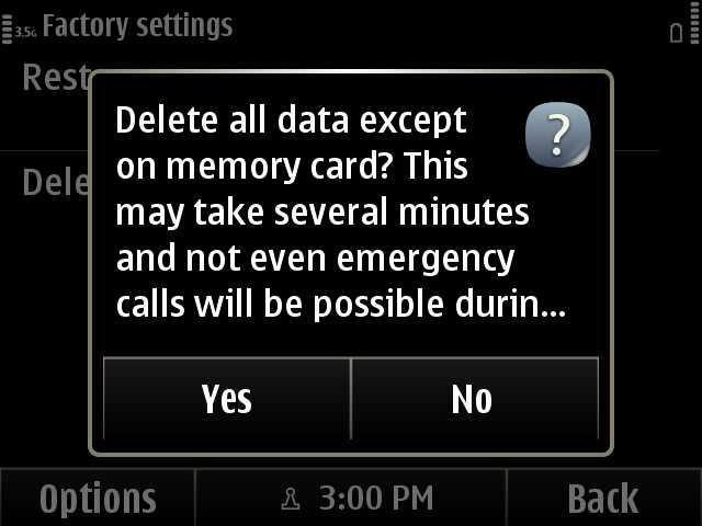 6. Hard Reset Confirmation Screen